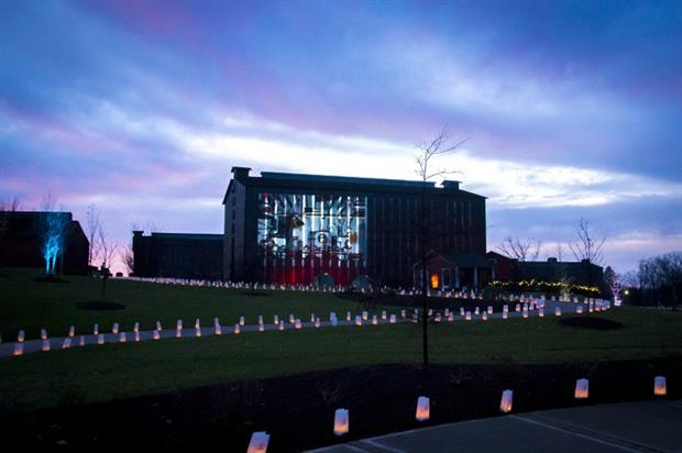 The light show is projected onto a rackhouse at Jim Beam's flagship distillery in Kentucky (PRNewswire)