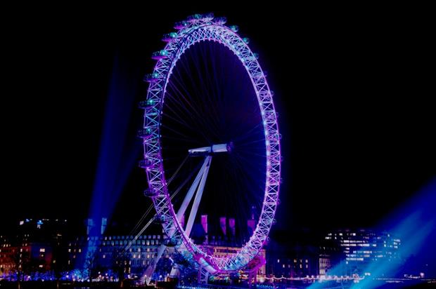 The London Eye will display a purple colour during the Charlie and the Chocolate Factory event