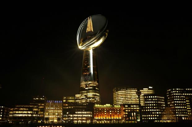 The Vince Lombardi trophy surrounded The Shard in London (YouTube/NFL)