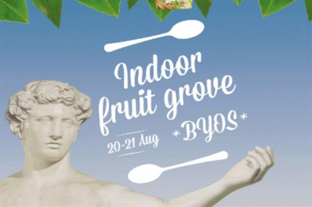 Tubs of Onken yoghurt will hang from trees within the fruit grove
