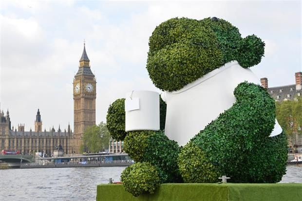 The giant green PG Tips monkey set sail on The Thames earlier this week