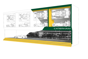 A visual of Caterham Cars' 'brand wall', created by Push Worldwide