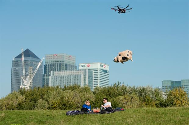 The flying pig was powered by a drone