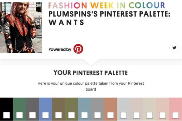 Consumers can create their own Pinterest Palette via the Topshop website (@pinterestUK)