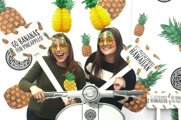 The activity is designed to drive awareness of Pizza Express' new Hawaiian pizza
