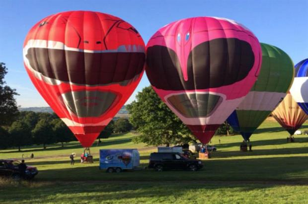 Two Mighty Morphin Power Rangers took to the sky for the annual event