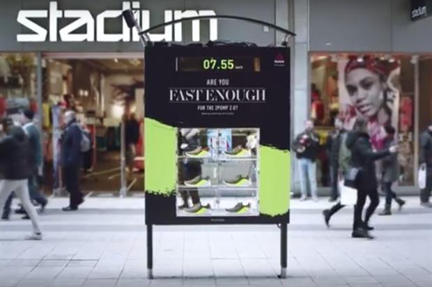 Reebok opted to install the speed cam-equipped sign in Stockholm (YouTube/Reebok)