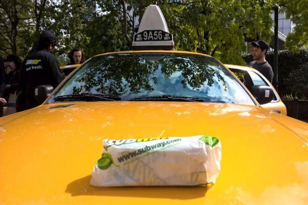 The stunt involved two New York-style cabs and a bellboy (@SubwayUKIreland)