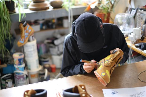 Designs will be illustrated onto Timberland shoes at the one-day pop-up