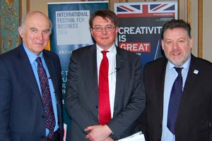 Vince Cable MP with British Ambassador to Belgium, Jonathan Brenton, and IFB director Ian McCarthy