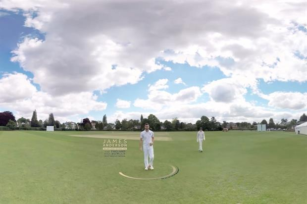 A screen shot of the VR experience featuring James Anderson