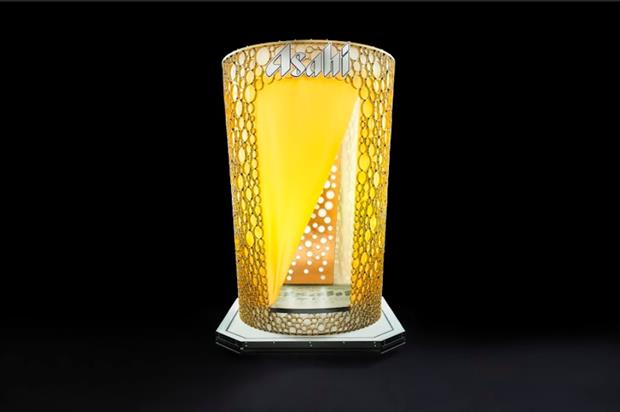 The booth has been designed to look like a pint of the lager