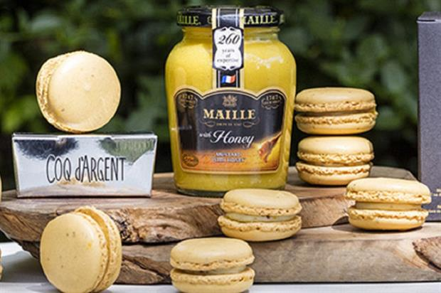 Maille and Coq d'Argent have made the first mustard macaron