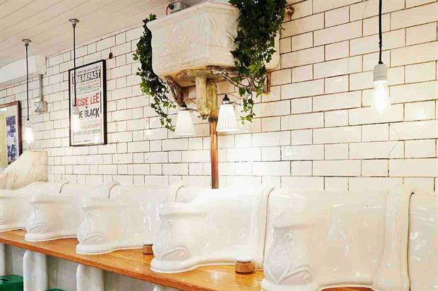 Attendant still features its original porcelain decor