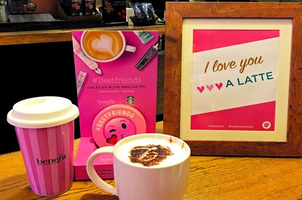 Benefit and Starbucks teamed up for a month-long Valentine's activation
