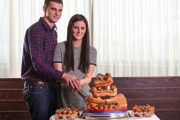 Adam Nicholson and Becca Piwinski will showcase the cake at their wedding in Yorkshire (Tom Maddick)
