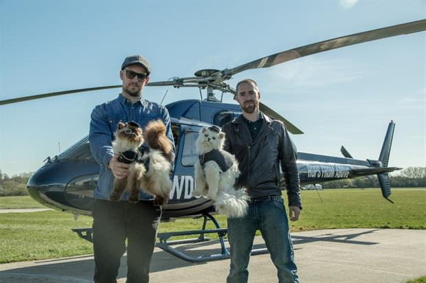 Brewdog founders James Watt and Martin Dickie with the 'fat cats'