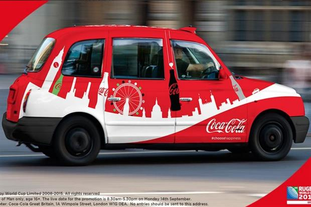 The branded taxi is making its way around London (@CocaCola_GB)