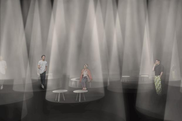 Beams of light inside the space will respond to visitors' as they move
