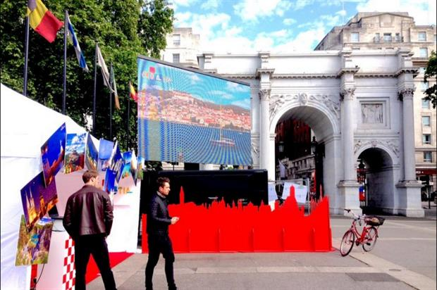 The activation launched at Marble Arch this morning (26 May) (@discofossil)