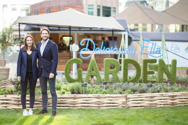 Ella Mills and her husband Matthew Mills at the Deliciously Ella Garden and Deli pop-up