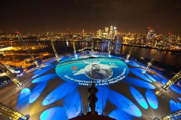 The projection previously formed part of O2's Wear The Rose campaign