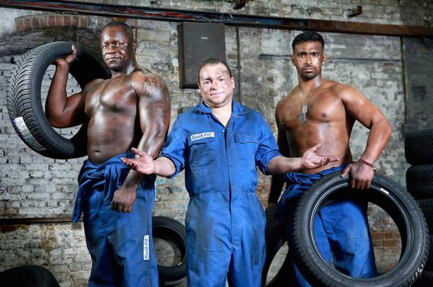 Fit Kwik saw attendees flip, lift and throw spare tyres taken from Kwik Fit's garages