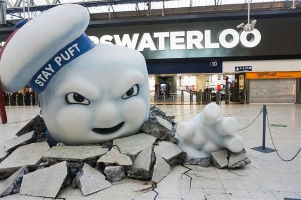 The giant Marshmallow Man crashing through the floor at Waterloo