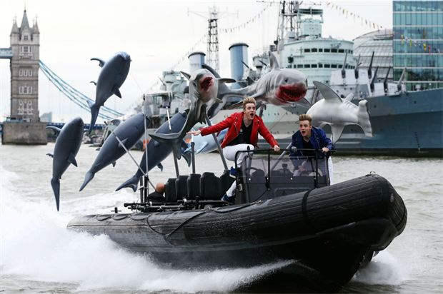 Jedward sped down the river on a speedboat