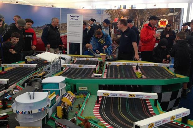 JET's Scalextric track proved popular with adults as well as children at Silverstone Classic