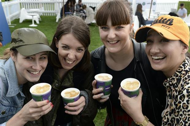 Tennis fans enjoying the complimentary Lavazza coffees