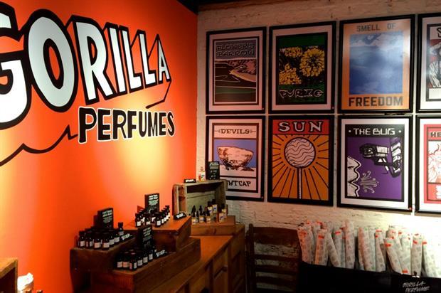 The installation shines the spotlight on two Gorilla Perfumes fragrances