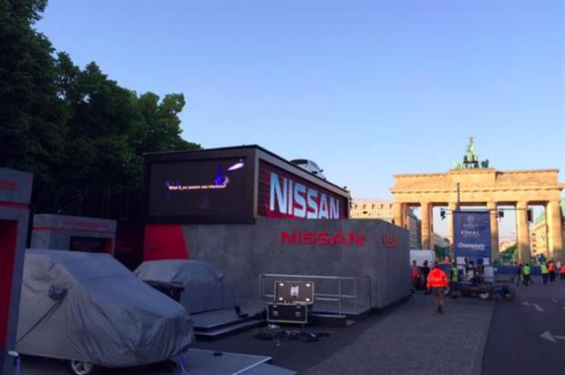 Setting up for Nissan's experiential fan area in Berlin for the UEFA Champions League Festival