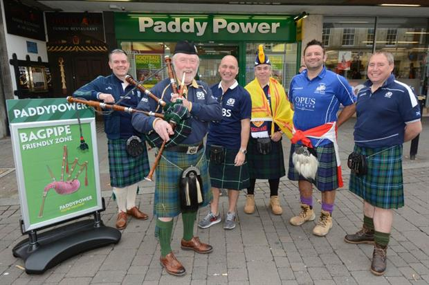 Scottish fans were free to play their bagpipes in the store