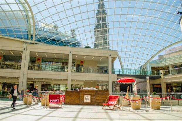 The Pimm's pop-up is located within Trinity Leeds shopping centre (@spaceandpeople)