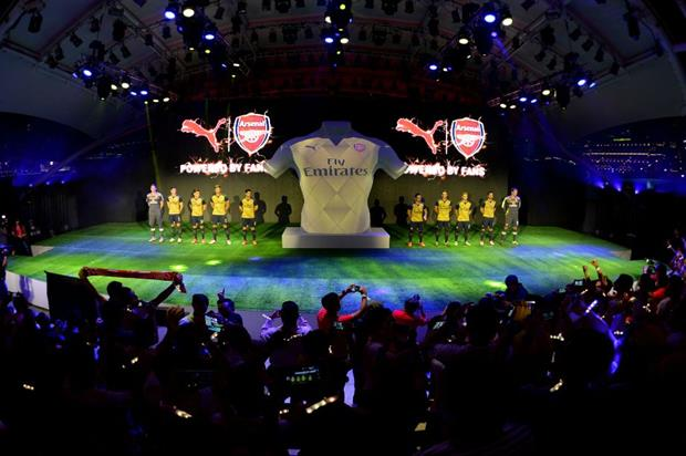 A projection mapped sequence gradually revealed the new Puma Arsenal Away Kit