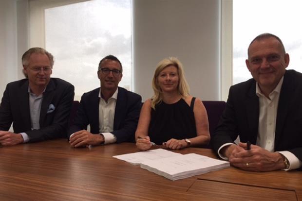 From left to right: Geertjan Jongeneel, CFO, BCD M&E; Marc Lammens, Managing Director, BCD M&E EMEA; Fay Sharpe, Managing Director, Sales & Marketing, Zibrant; Nigel Cooper, Owner/CEO, Zibrant.