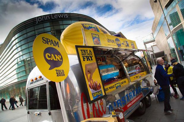 Passers-by can try a free portion of the brand's hot Spam fries