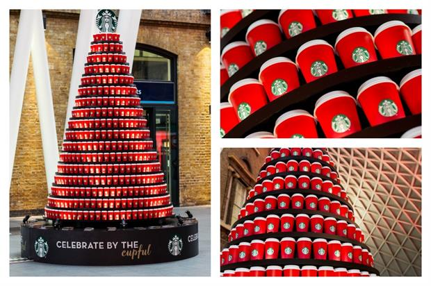 The social media-activated tree celebrated the start of Starbucks' red cup season