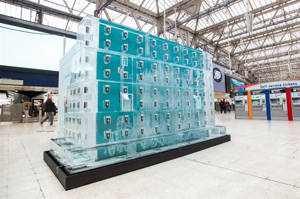The installation at Waterloo train station today