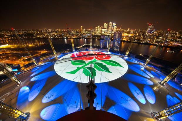 The roof of the O2 will be lit from sunset to midnight throughout the Rugby World Cup