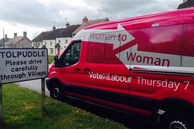 Labour's pink bus targeted the female electorate (@HarrietHarman)