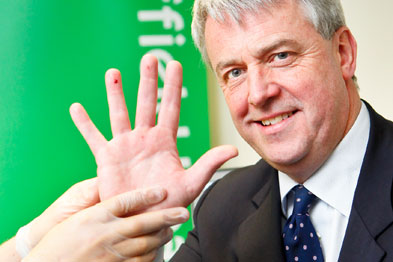 Mr Lansley has a cholesterol check at Nuffield Health's launch of its Health MOTs (Photograph:Anthony Upton/PA Wire)