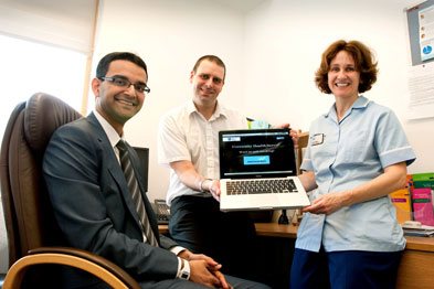Dr Sripat Pai (left) with IT officer Andrew Green and healthcare assistant Sue Westgate
