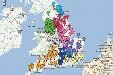 Map showing 257 clinical commissioning groups (CCGs); colour denotes NHS region (Image: GPonline.com)