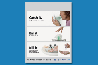 Catch it. Bin it. Kill it: the DoH relaunched its hygiene campaign last year but should it do so again? (Image: NHS)