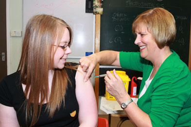 Girl receives HPV jab (Photograph: Consolidated Scotland)