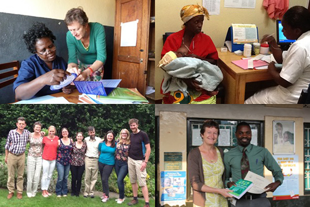 Dr Clare Goodhart working in Uganda and some of the UK GPs involved with U-SHAPE