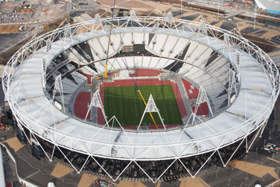Aerial view showing a section of the Olympic Stadium (Photograph: London 2012)
