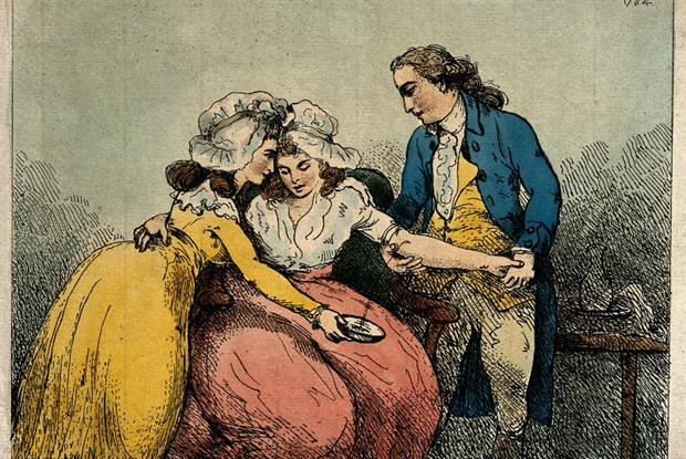 Surgeon bleeding a patient (from The Coalbrookdale Doctors)